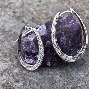 Elle Paris Sterling Silver CZ Huggie Earrings